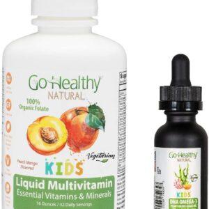 Go Healthy Natural Kids Liquid Multivitamin + Vegan Liquid DHA Omega-3 Algae Oil