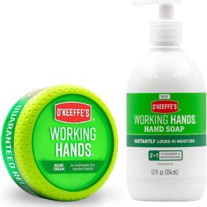 O'Keeffe's Working Hands Hand Cream 3.4oz Jar + Working Hands Moisturizing Hand Soap 12oz Pump, White